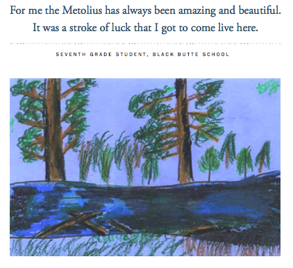 A page out of the Metolius Outreach Brochure, created by Black Butte School students in collaboration with the Upper Deschutes Watershed Council